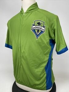 Seattle Sounders 3/4 Zip Short Sleeve Cycling Jersey Mens 2XL Green VOX MAX