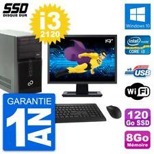 "PC Torre Fujitsu P400 Pantalla 19"" Intel i3-2120 RAM 8Go SSD 120Go Windows 10 Wi"