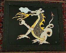 New Listing1970s Vintage Reverse Dragon Painting on Glass-Foil-Fantasy-Dungeo ns & Dragons!
