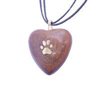 Solide bois de rose sculpté à la main coeur avec patte urne pendentif pour animaux chat chien cendres