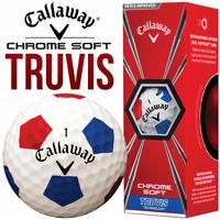 Callaway 2018 Chrome Soft Truvis Golf Balls X 3 BALL PACK - WHITE RED / BLUE