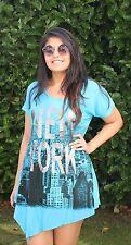 FGSJ Fashion, Damen-Shirt, - Tunika, Gr. 40/42/44, türkisblau, Baumwolle, Lycra
