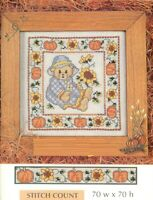 TEDDY WITH PUMPKINS AND SUNFLOWERS   -  CROSS STITCH PATTERN ONLY   HM EYYY