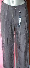 pantalones pinza satén gris HIGH USE talla 44 NUEVO CON ETIQUETAS