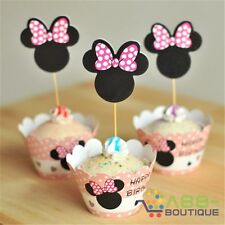 24pcs Minnie Mouse Happy Birthday Cupcake Cake Wrappers Toppers Favors Baby Kit