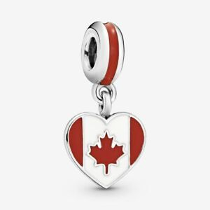 NEW Pandora 791954ENMX Canada Flag Heart Silver Charm UK,Free Pouch Authentic