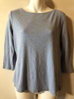 Talbots Size Med Women's Shirt Blue 3/4 Sleeve 100% Cotton