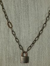 DoDo Pomellato Sterling and Rose Gold Padlock Necklace