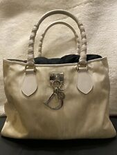 Authentic Christian Dior Trotter Tote Hand Bag White Canvas