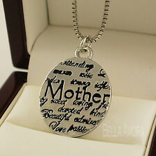 """Tibetan Silver Oval Mother Mum Sentiments Pendant with 18"""" Chain Necklace UK 184"""
