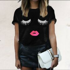 UK Women Ladies Eyelash Lips Short Sleeve Casual Tee T-shirt Tops Blouse 6 - 18 Black XXXS