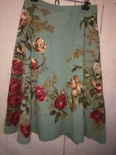 Anthropologie Yoana Baraschi Embroidered Sequin Floral Print Flare Skirt Size M