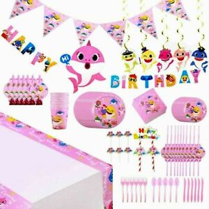 PINK Baby Shark Kids Birthday Party Supplies Tableware Decor  Tablecloth Plates