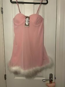 Gorgeous Pink Swing Dress Boohoo 14 Feather Trim