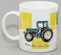 Gibson John Deere Ceramic Cup Mug White Green Gold Tractors 12 oz. EUC