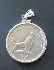 1954 Coin Bezel Silver Florin 2/- Polished Screw Top Mounted Coin Bezel Pendant