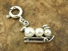 Sterling Silver Pearl Snowman with Sled on Spring Ring for Charm Bracelets-2167