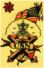 153 US NAVY Battle Ship Flag Sailor Jerry Traditional style Flash poster print