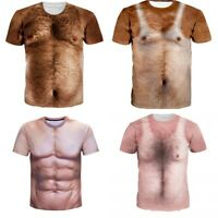 Muscle Hairy Chest 3D Print Mens Casual Short Sleeve T-Shirt Graphic Tee Tops
