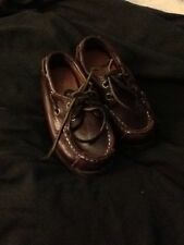 timberland boys size 6 children brown leather boat dress shoes
