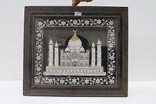Vintage Old India Handmade Zardosi Work Tajmahal With Wooden Frame NH1455