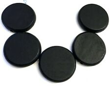 5 Wood Flat Round Disc Beads 34mm - Black