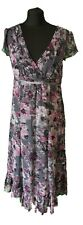 PER UNA GREY WITH PINK FLORAL DRESS - UK Size 14