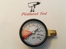 "CO2 Pressure Gauge 1/4"" NPT 2"" DIAL 0-2000 PSI RT SIDE MNT W/Order Gas Indicator"