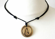 Atheist Necklace Symbol Pendant Gift Wood Choker Atheism Mens Ladies Jewellery