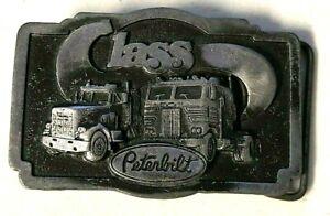 Vintage 1970's Lass Peterbilt Truck Belt Buckle Silver Tone Tonkin Inc Rare EUC