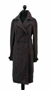 DAKS London Brown Stripe Double Breasted Over Trench Jacket Size UK6 NEW G23