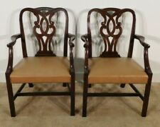 Pair Baker Furniture Leather Mahogany Museum Chippendale Arm Chairs #2