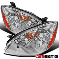 For 2002-2004 Nissan Altima Chrome Clear Headlights w/ Amber Reflector
