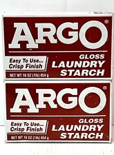 ARGO Gloss Powdered Laundry STARCH 16 oz Box Crisp Finish For Clothing (2 Pack)