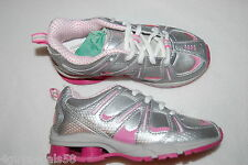 Girls Tennis Shoes METALLIC SILVER Pink Accents RUNNING Lace Up ATHLETIC Size 4