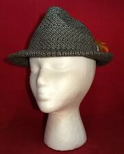 Vintage Fedora Yellow Feather Hat Cap Brown Gray Wool Tweed Small M Button Retro