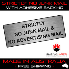 STRICTLY NO JUNK MAIL - SILVER SIGN - LABEL - PLAQUE w/ Adhesive 80mm x 30mm