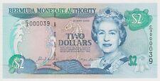 Bermuda 2 Dollars $ 2000 P50a GEM UNC Low Serial Queen Elizabeth Sea Horse Shell
