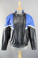 BLACK, BLUE & WHITE SPORTEX IMOLA LEATHER BIKER JACKET + BACK PROTECTOR SIZE 16