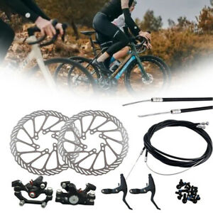Mechanical Bike Disc Brake Set Front Rear Caliper Rotor Crank Bicycle MTB Kit