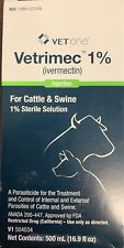 VetOne Vetrimec 1% Ivermectin Injectable Cattle Swine 500ml Wormer