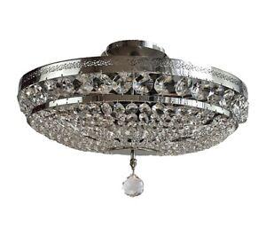 Kristall Deckenleuchte PALACE Ø45cm 6 Flammig Silber aus geschliffenen Kristall