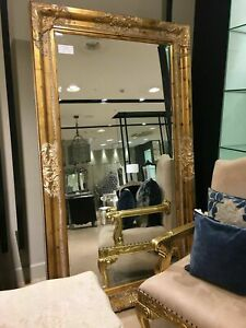 Distressed Gold Large Statement Leaner Dress Ornate French Wall Mirror 6ft x 4ft