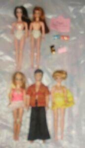 Lot of Dawn, Gary, Glori, Jessica, Angie dolls, AS IS + portfolio & 4 purses