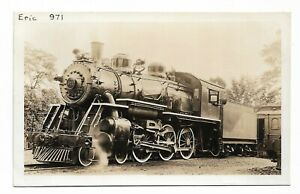 Postcard RPPC USA Erie Railroad locomotive 971 at Hillsdale NJ 1930 unposted