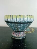 Speckled Multicolor Patterned Glazed Brutalist Stoneware Bowl Made in Italy