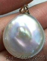 baroque AAA 19-20mm natural 14k gold pearl south sea pendant