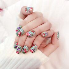 Flower Acrylic Nails Gorgeous Poeny Pattern Decoration False Nails 24pcs Z320