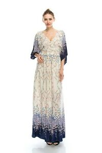 Dainty Floral Ivory Cream and Purple Romantic Maxi Dress S M or L, Lola's