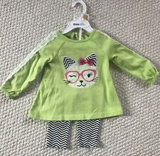 Kids Headquarters Baby Girls' 2-Pc. 12 M Cat Tunic & Leggings Set – Green